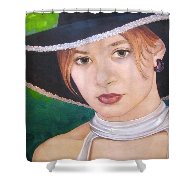 Pretty Girl Shower Curtain featuring the painting Alexis by Jerrold Carton