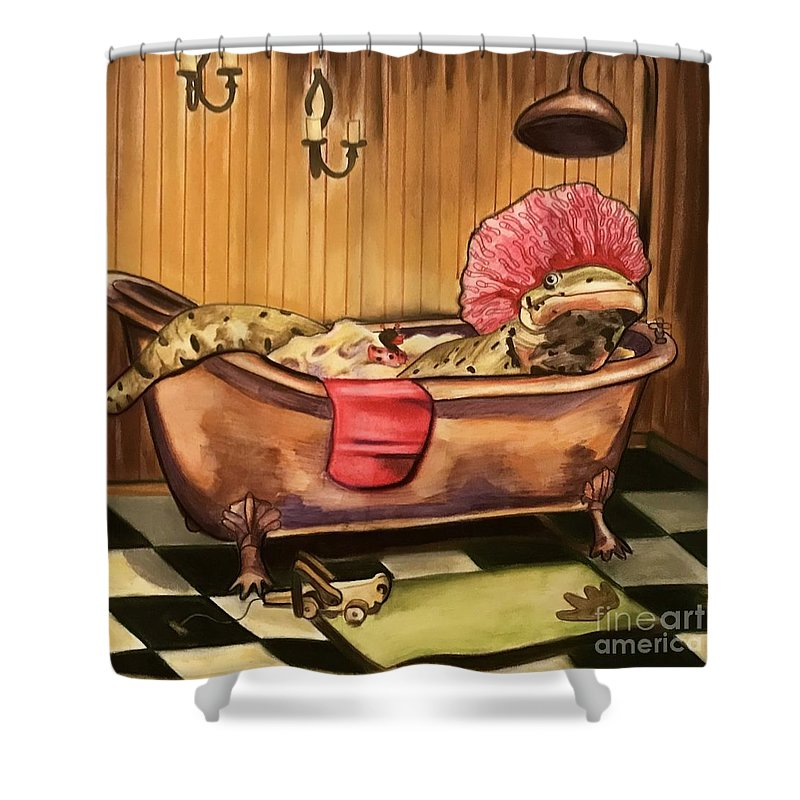 Salamander Shower Curtain featuring the drawing Alexs Ablutions by Tiffany Brazell