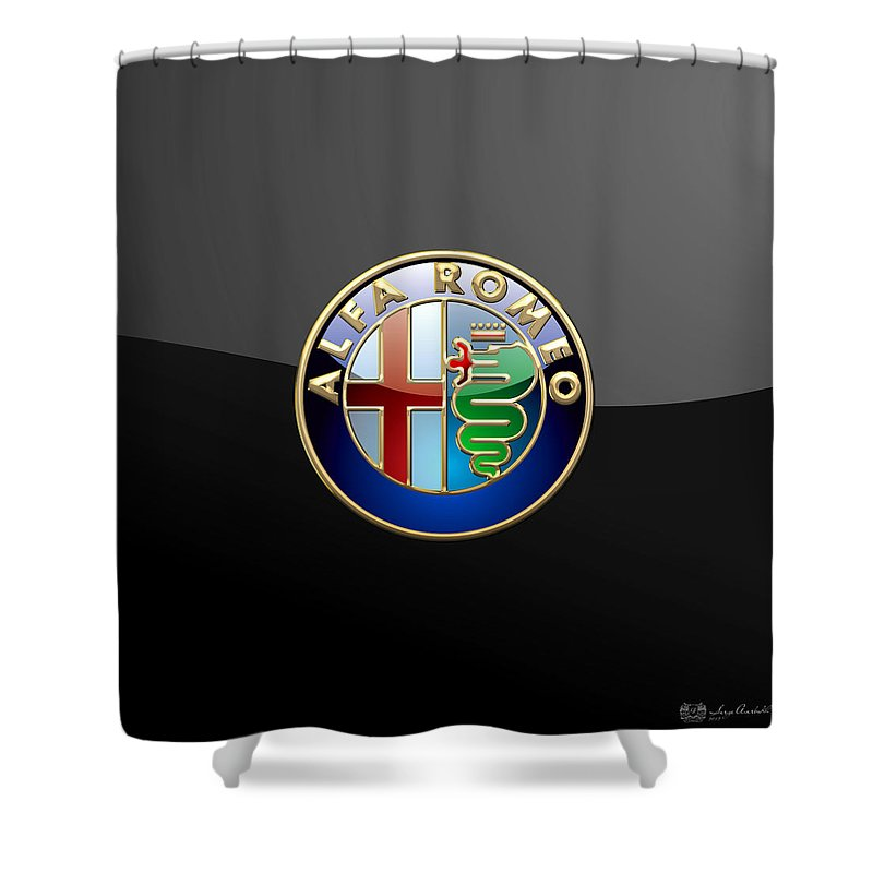 Wheels Of Fortune� Collection By Serge Averbukh Shower Curtain featuring the photograph Alfa Romeo - 3 D Badge On Black by Serge Averbukh