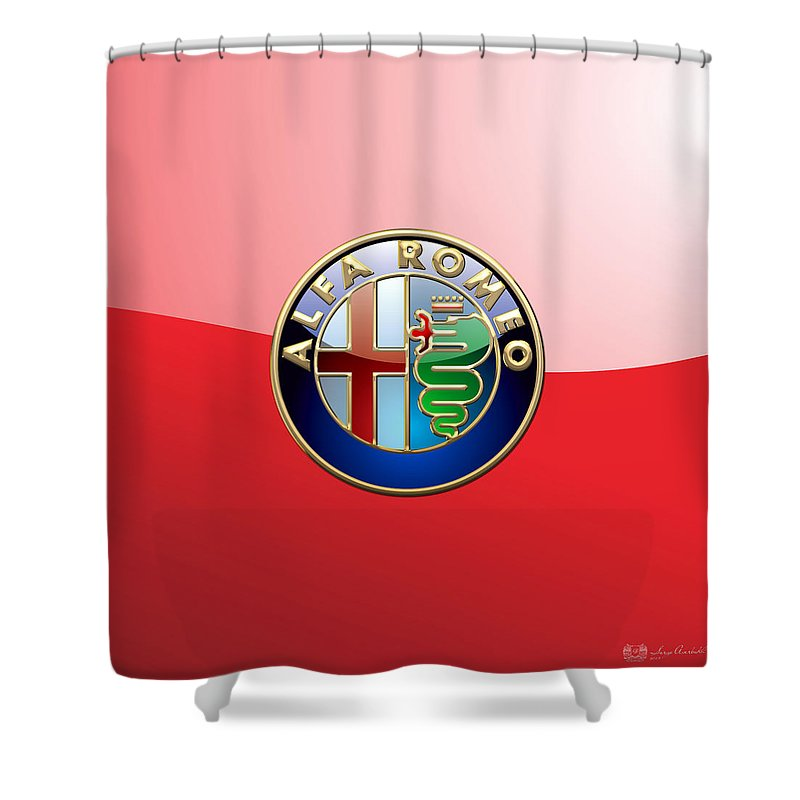 Wheels Of Fortune By Serge Averbukh Shower Curtain featuring the photograph Alfa Romeo - 3d Badge On Red by Serge Averbukh