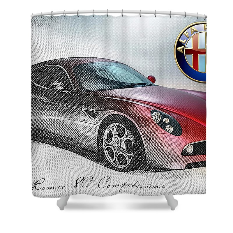 Wheels Of Fortune By Serge Averbukh Shower Curtain featuring the photograph Alfa Romeo 8c Competizione by Serge Averbukh