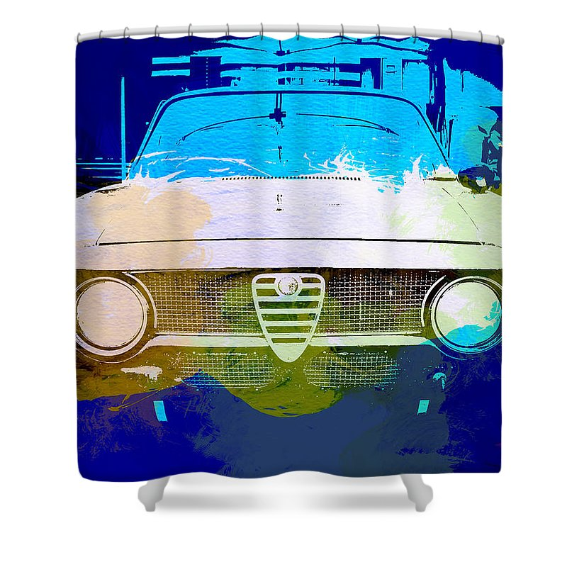 Shower Curtain featuring the photograph Alfa Romeo Watercolor by Naxart Studio