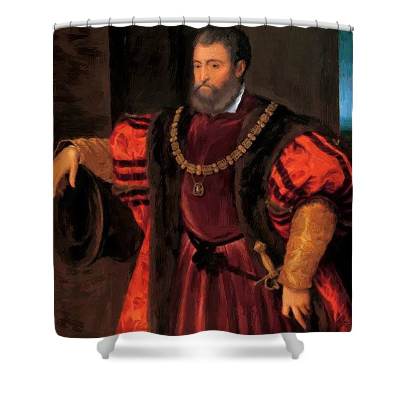 Alfonso Shower Curtain featuring the painting Alfonso D Este by Dossi Dosso