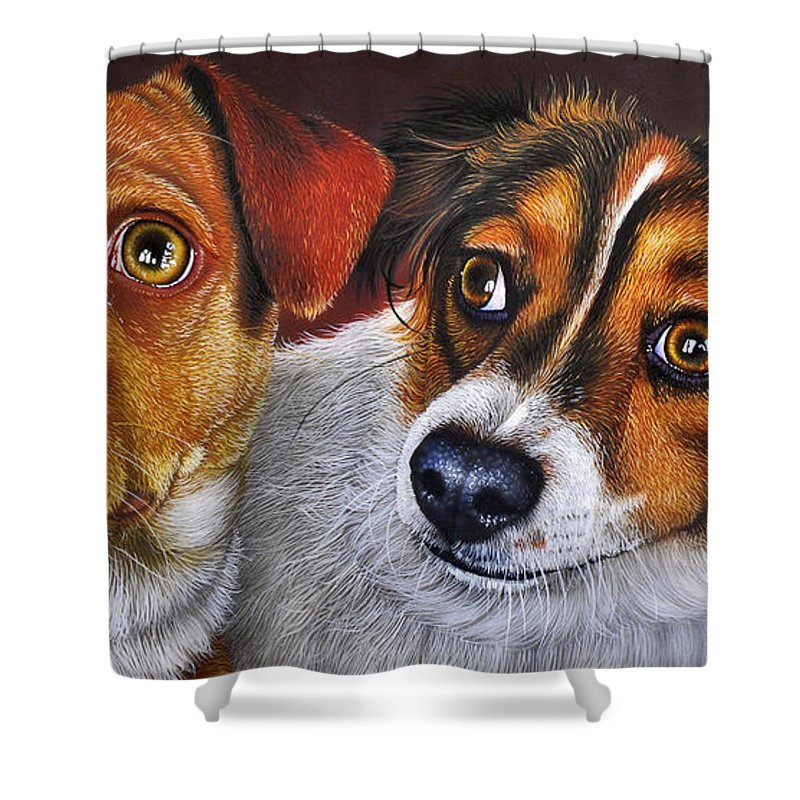 Puppies Shower Curtain featuring the painting Ali And Ilu by Jurek Zamoyski