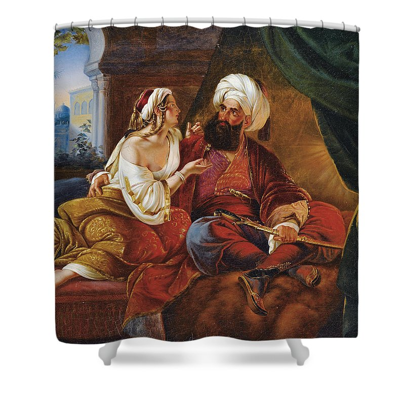 Attributed To Paul Emil Jacobs Shower Curtain featuring the painting Ali Pacha And Kyra Vassiliki by Attributed to Paul Emil Jacobs
