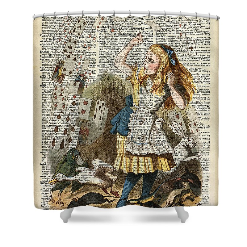 Alice In The Wonderland Shower Curtain Featuring Drawing On A Vintage