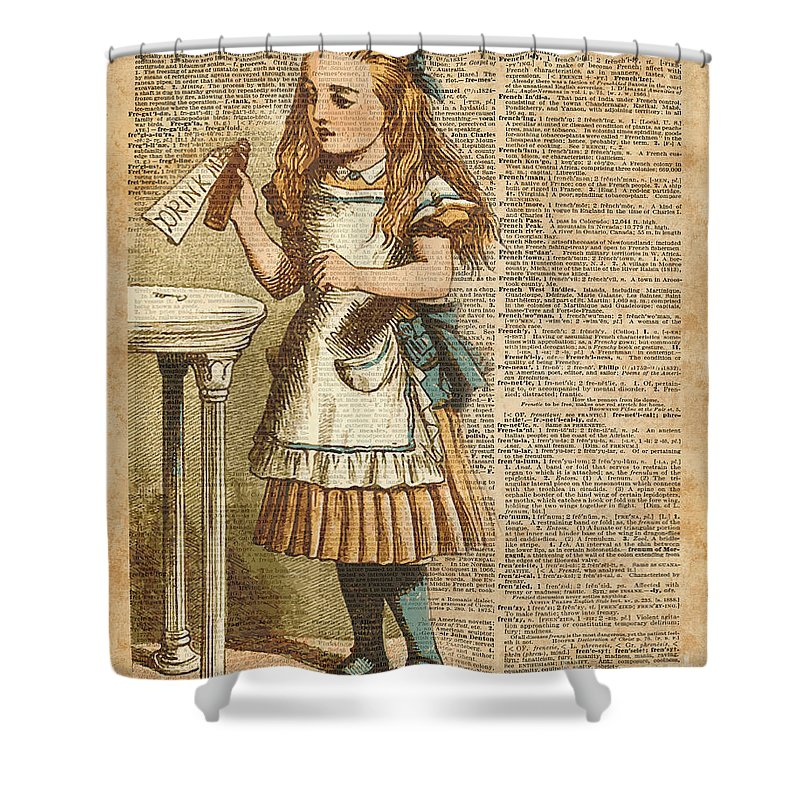 Alice In Wonderland Drink Me Vintage Dictionary Art Illustration Shower Curtain For Sale By Anna W