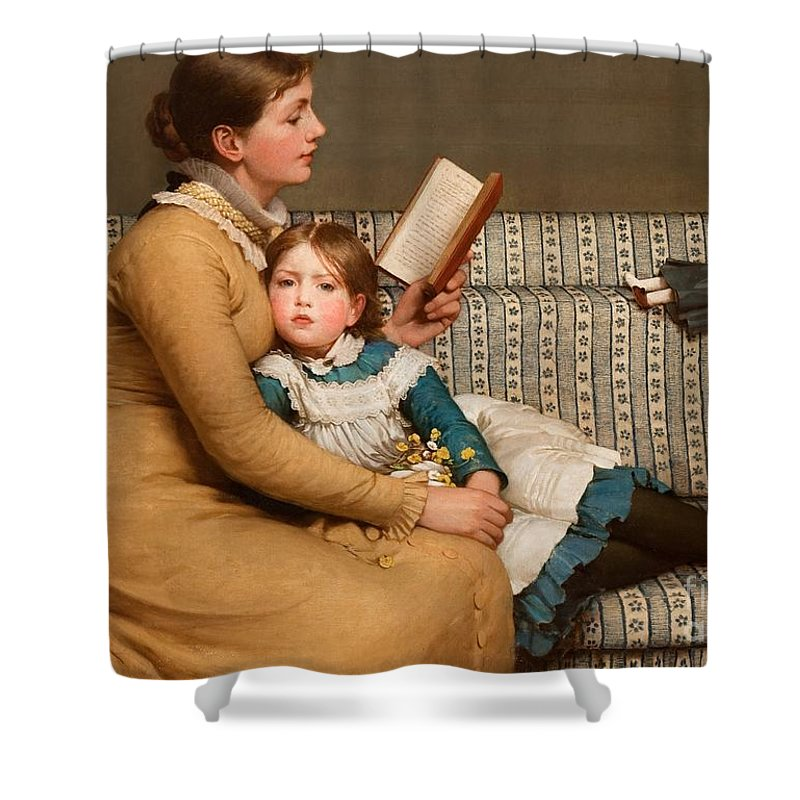Girl Reading Book Shower Curtains