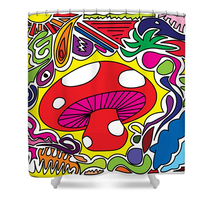 Sixties Shower Curtain Featuring The Drawing Alice In Wonderland Mushroom Power Ask Psychedelic By