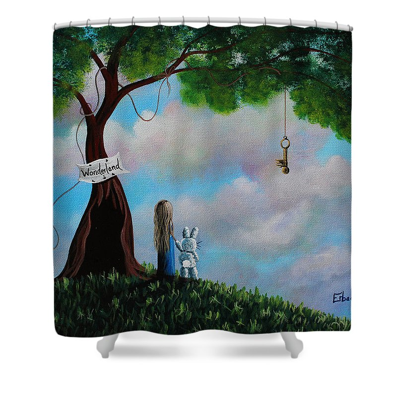 Alice In Wonderland Shower Curtain featuring the painting Alice In Wonderland by Erback Art