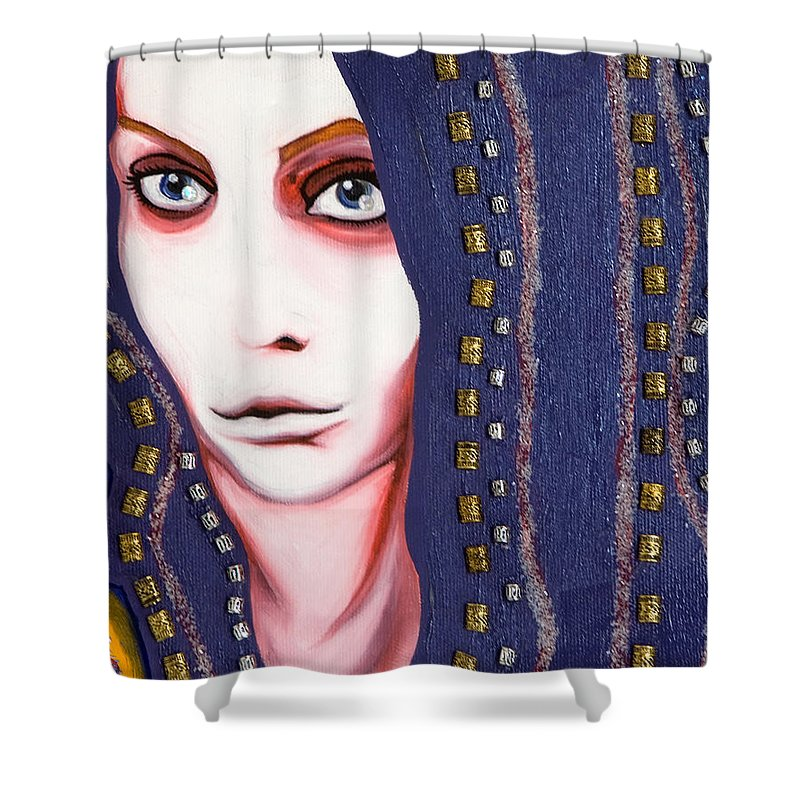 Woman Shower Curtain featuring the painting Alice by Sheridan Furrer