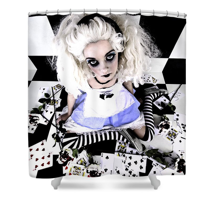 Alice In Wonderland Shower Curtain featuring the photograph Alice1 by Kelly Jade King