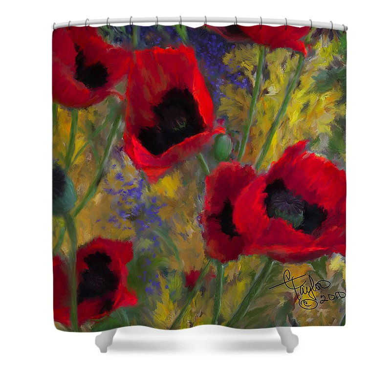 Flowers Shower Curtain featuring the painting Alicias Poppies by Colleen Taylor