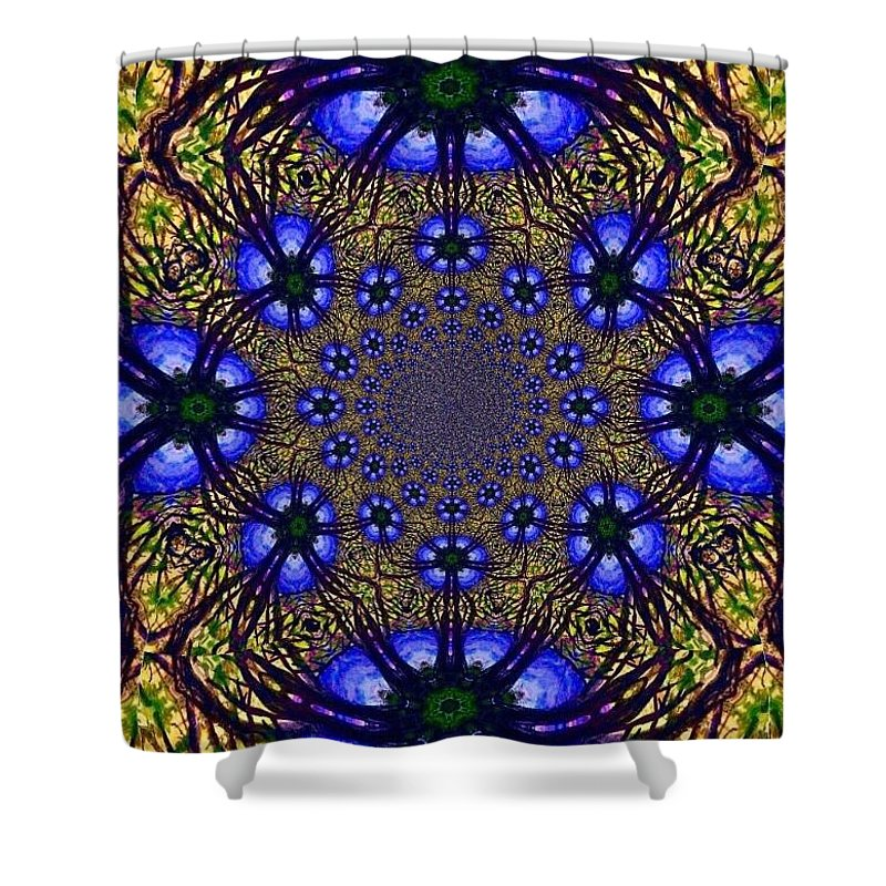 Blue And Yellow Shower Curtain featuring the digital art Blue Abstract by Anne Sands