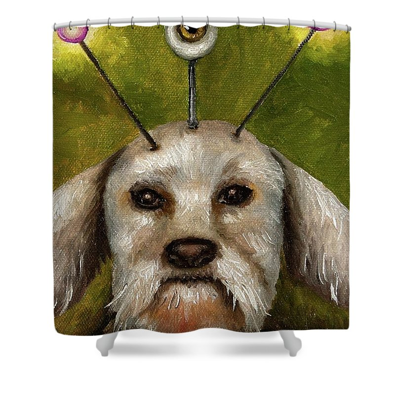 Dog Shower Curtain featuring the painting Alien Dog by Leah Saulnier The Painting Maniac