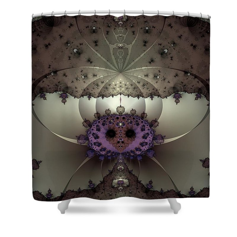 Abstract Shower Curtain featuring the digital art Alien Exotica by Casey Kotas