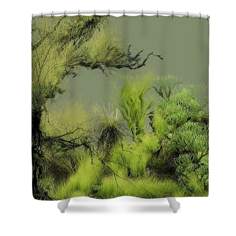 Digital Fantasy Painting Shower Curtain featuring the digital art Alien Garden 2 by David Lane