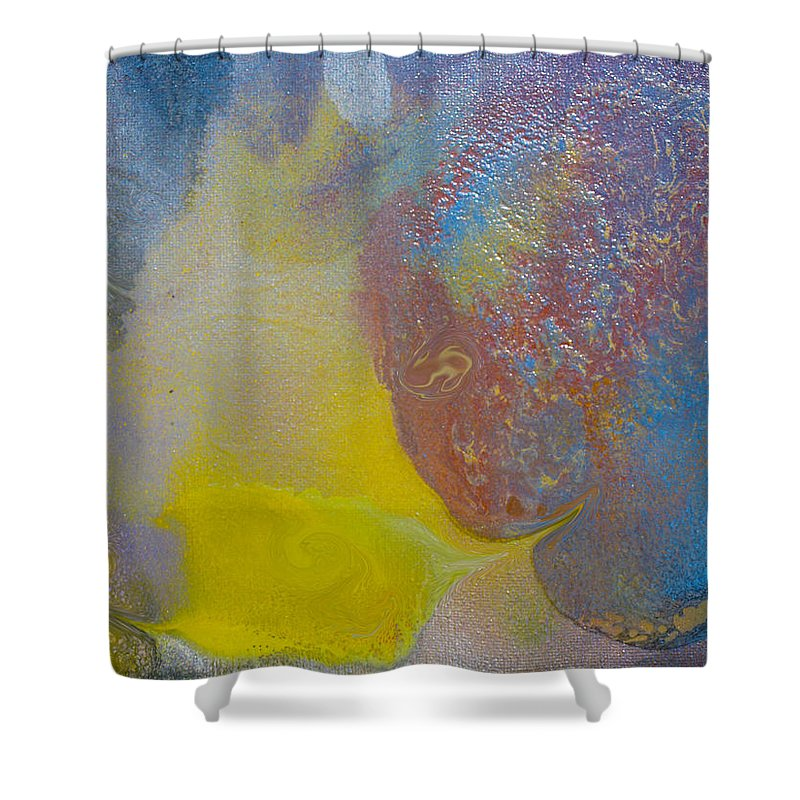 Abstract Circle Art Shower Curtain featuring the painting Alien Life by Robert Margetts