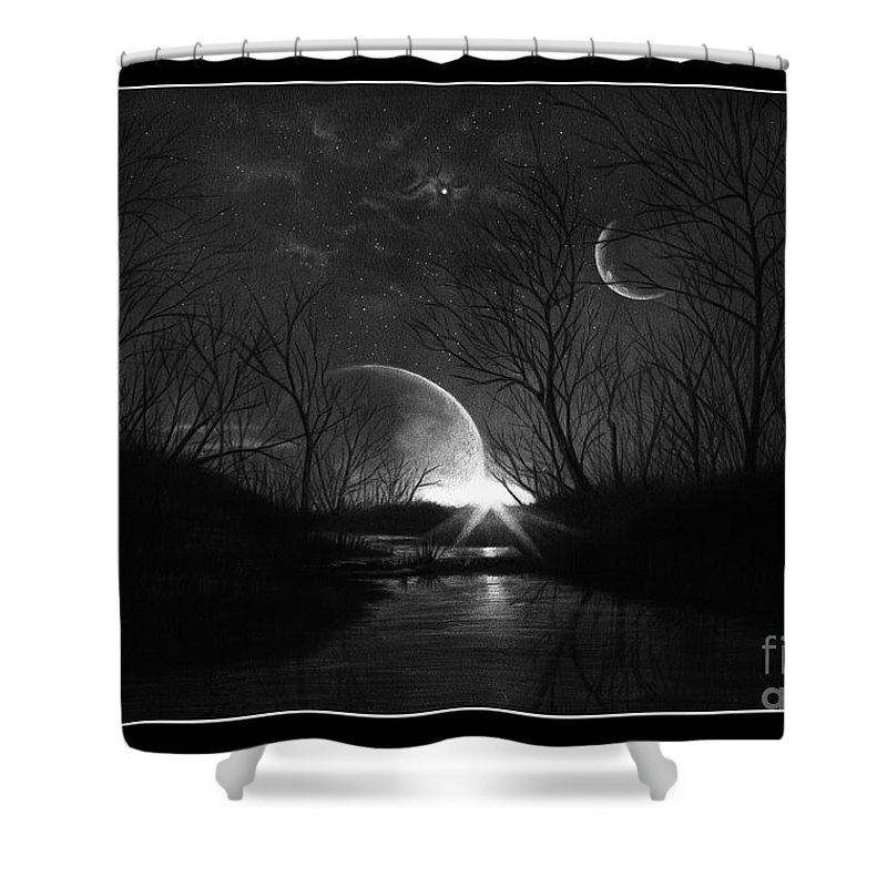 Pencil Shower Curtain featuring the drawing Alien Skies by Murphy Elliott