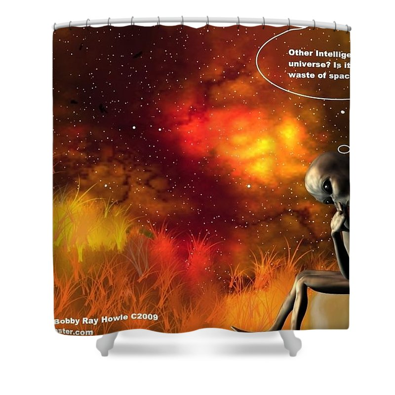 Comic Space Art Cartoon Artrage Artrageus Shower Curtain featuring the digital art Alien Thinker by Robert aka Bobby Ray Howle