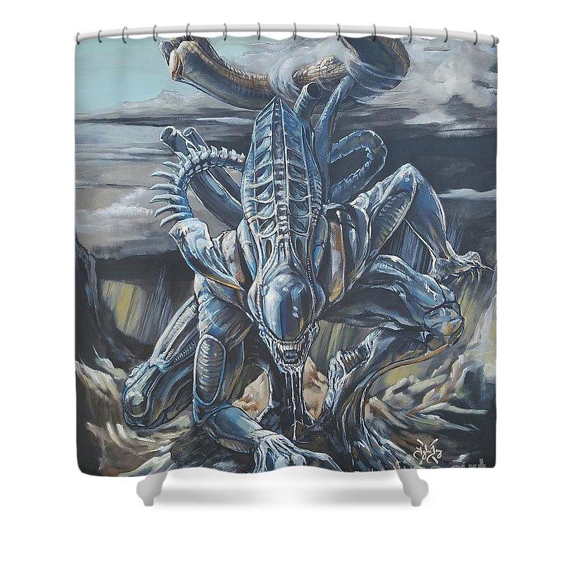 Alien Xenomorph Shower Curtain For Sale By Tyler Haddox