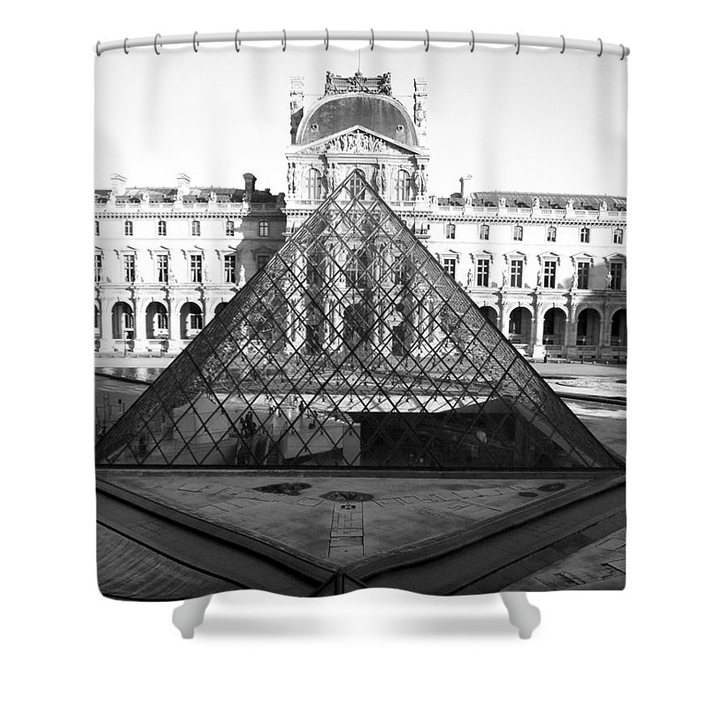 Pyramids Shower Curtain featuring the photograph Aligned Pyramids At The Louvre by Donna Corless
