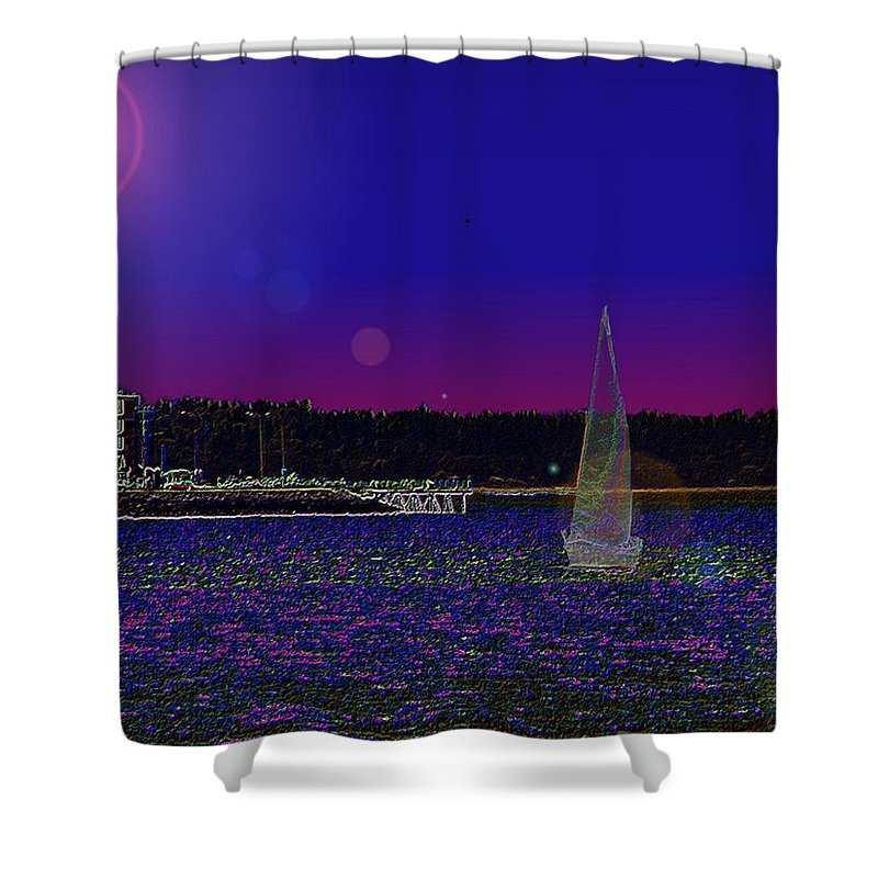 Seattle Shower Curtain featuring the digital art Alki Ghost Sail by Tim Allen