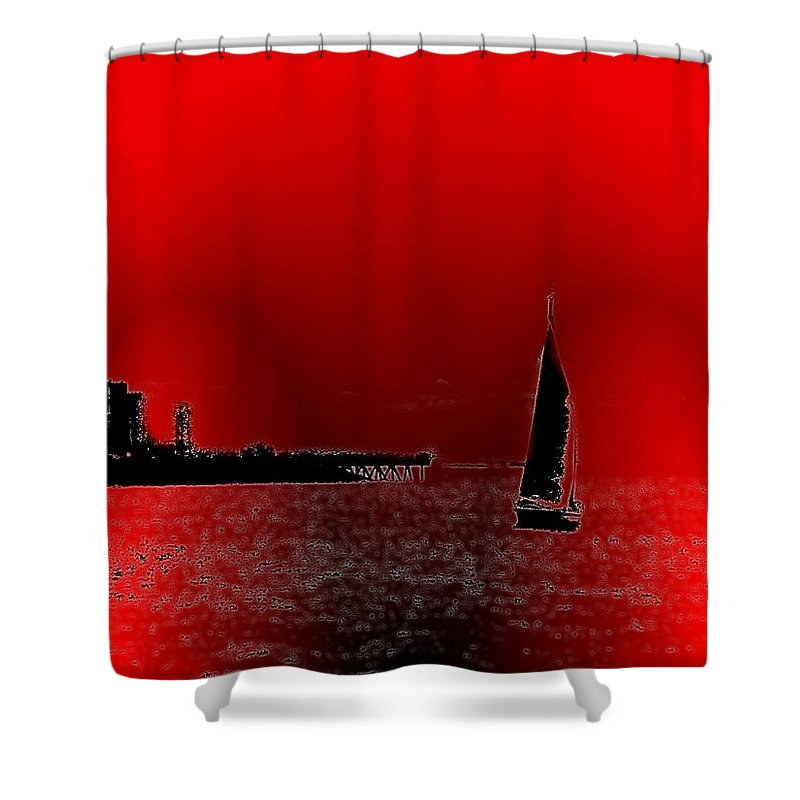 Seattle Shower Curtain featuring the photograph Alki Sail 4 by Tim Allen