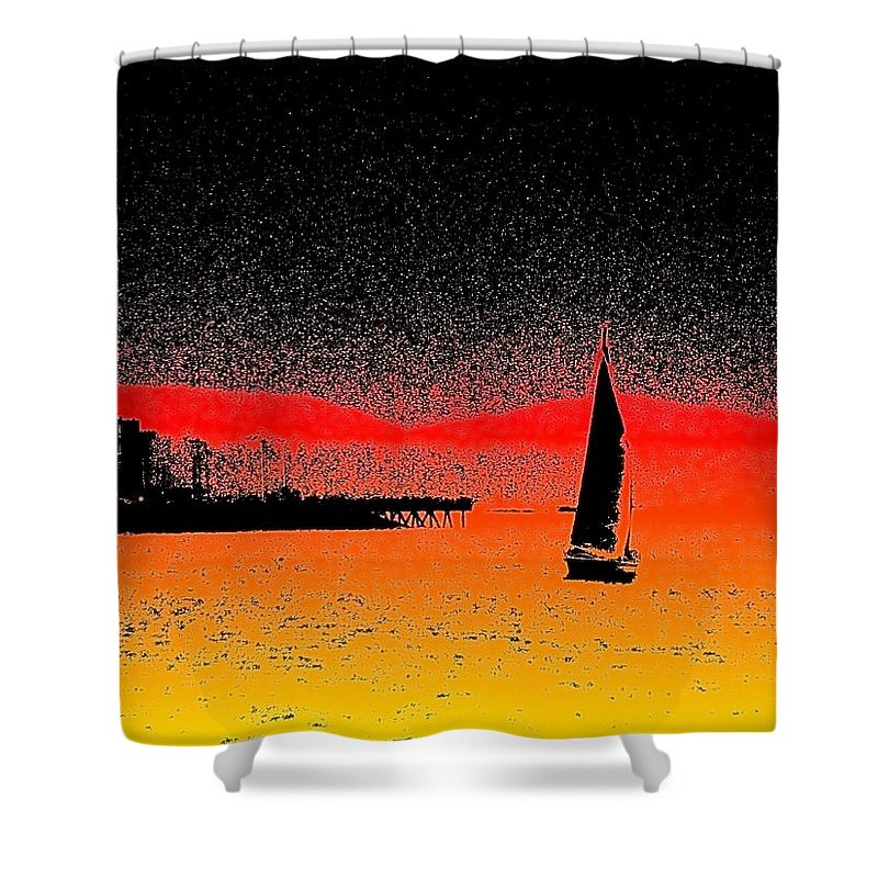 Seattle Shower Curtain featuring the photograph Alki Sail by Tim Allen
