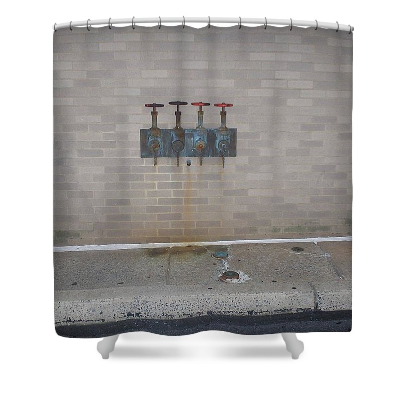 Photograph Shower Curtain featuring the photograph All Alone Four Pipes by Thomas Valentine