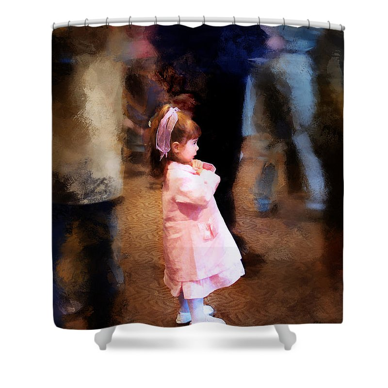 Girl Shower Curtain featuring the digital art All Alone In A Crowd by Francesa Miller