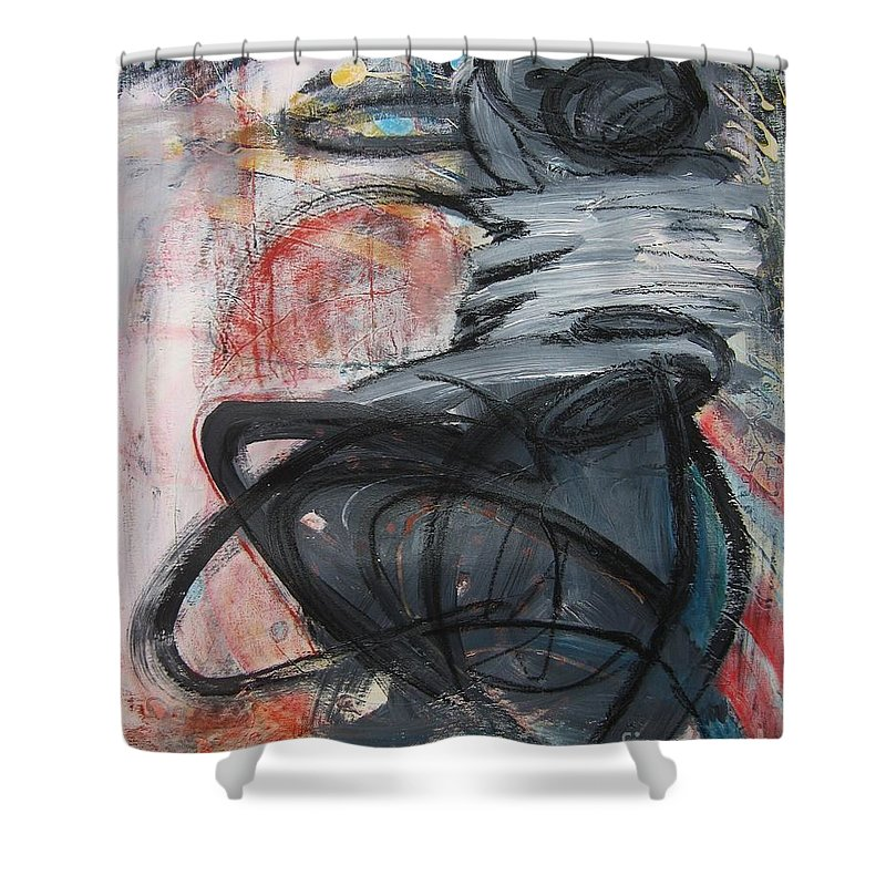 Abstract Paintings Paintings Shower Curtain featuring the painting All Alone by Seon-Jeong Kim