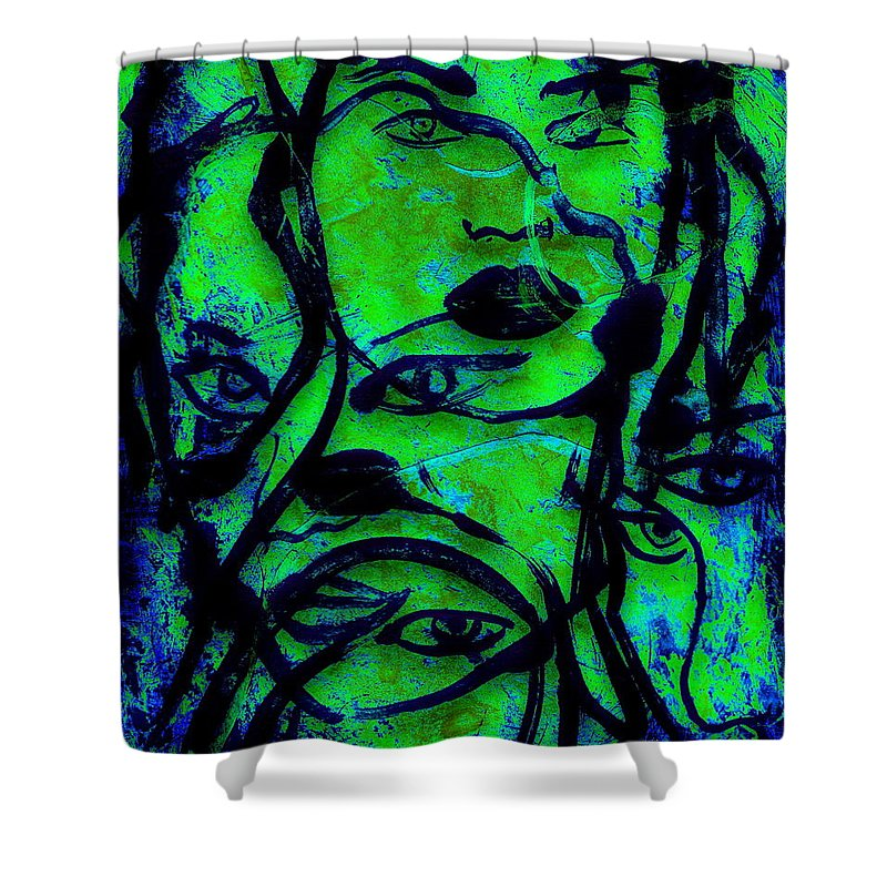 Woman Shower Curtain featuring the painting All Eyes On You by Natalie Holland
