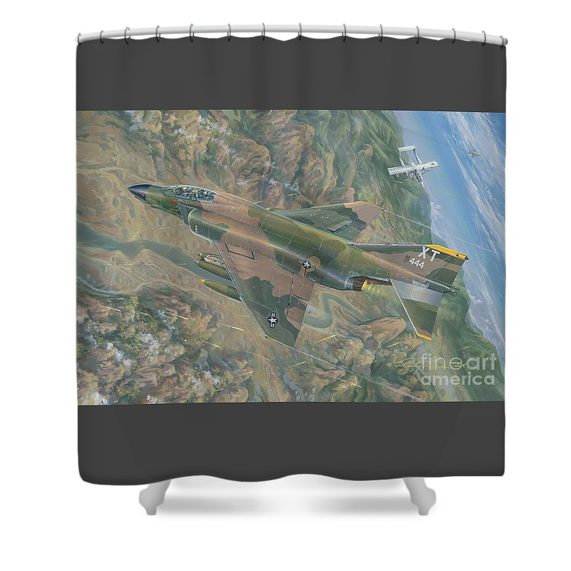 F-4c Phantom Shower Curtain featuring the painting All For One  The Rescue Of Boxer 22 Ban Phanop Laos 5 Thru 7 December 1969 by Randy Green