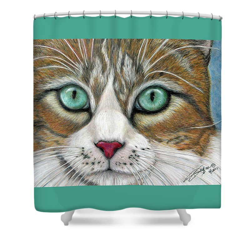 Pet Portraits Shower Curtain featuring the drawing All I Want For Christmas Is A Home by Beverly Fuqua