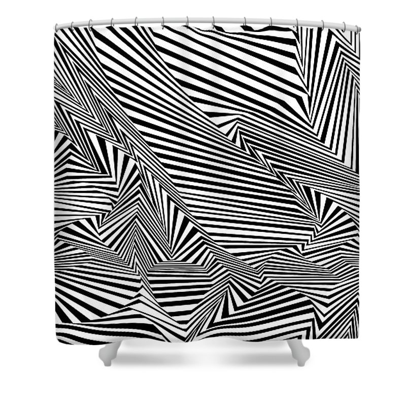 Dynamic Black And White Shower Curtain featuring the painting All In Tents And Purposes by Douglas Christian Larsen