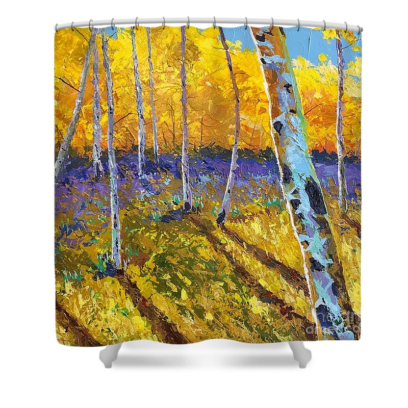 Aspen Shower Curtain featuring the painting All In The Golden Afternoon by Hunter Jay