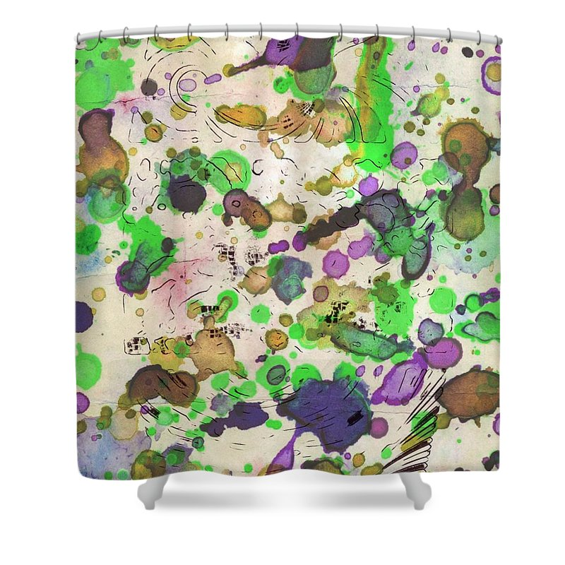 Digital Art. Abstract. Mad Vision. Riot. Explosion. Shower Curtain featuring the digital art All Over by Lawrence Allen
