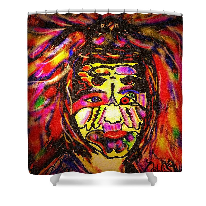 Man Shower Curtain featuring the painting All Seeing Eye by Natalie Holland