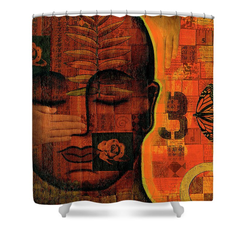 Buddha Shower Curtain featuring the painting All Seeing by Gloria Rothrock