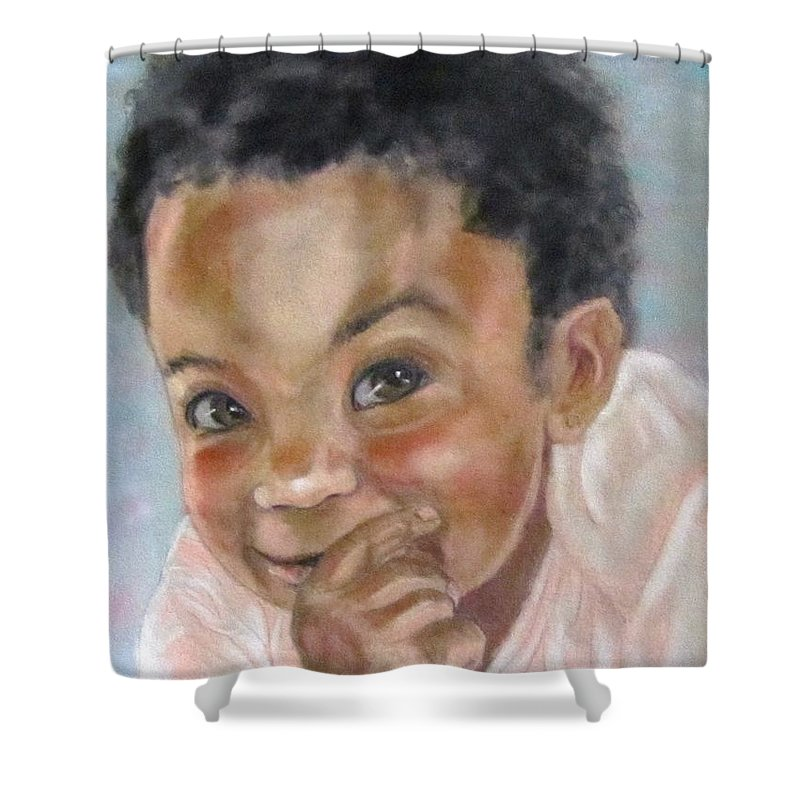 Baby Shower Curtain featuring the painting All Smiles by Barbara O'Toole
