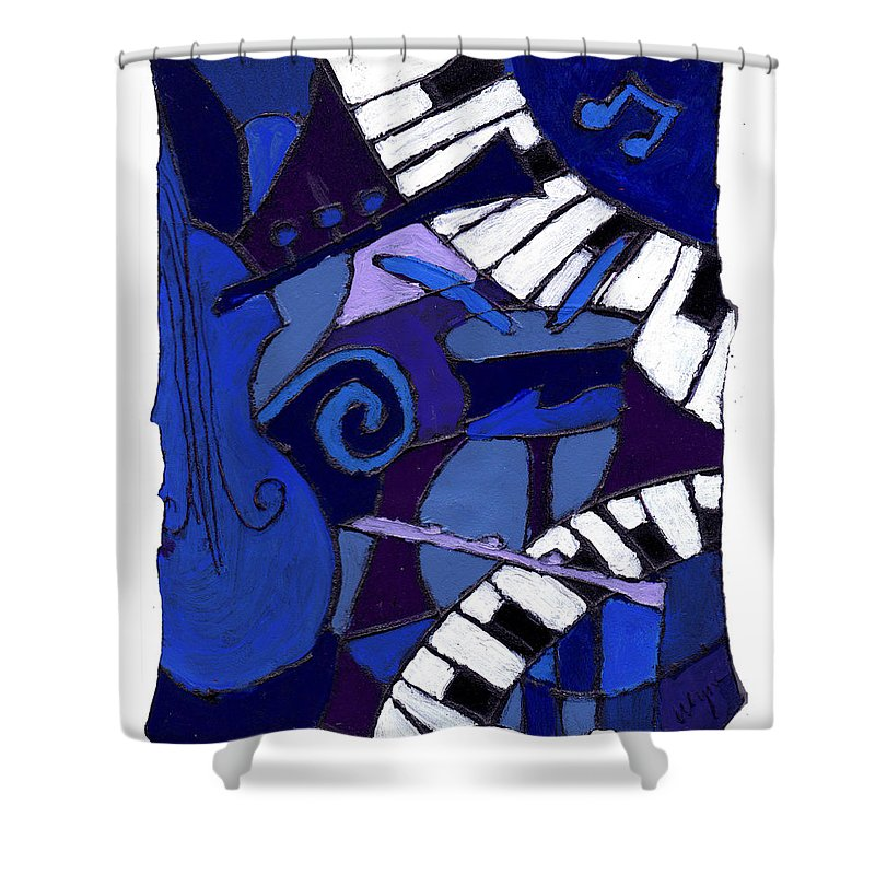 Jazz Shower Curtain featuring the painting All That Jazz 3 by Wayne Potrafka