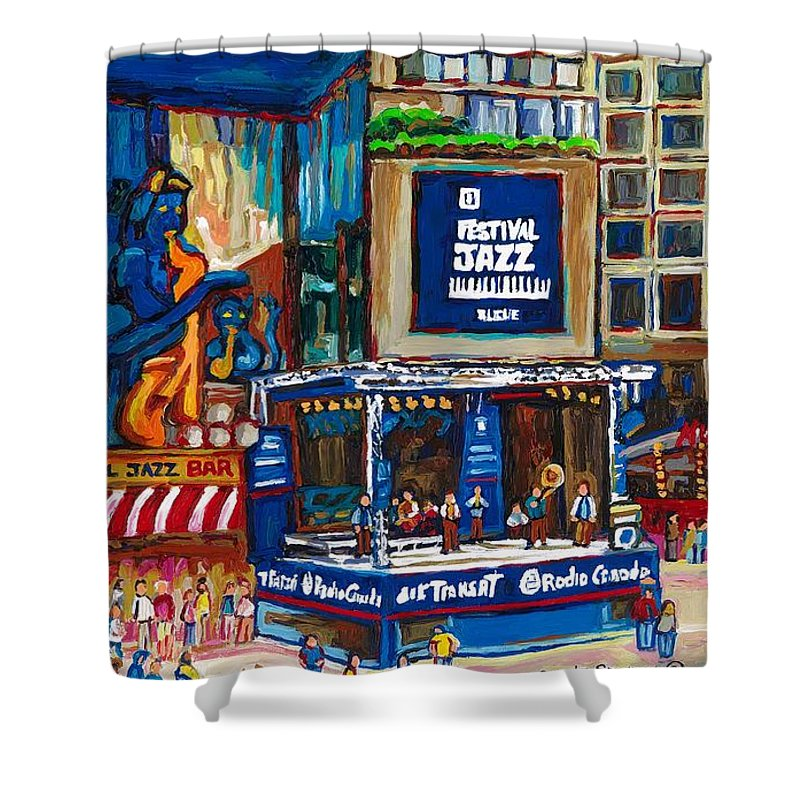 Montreal Shower Curtain featuring the painting All That Jazz by Carole Spandau