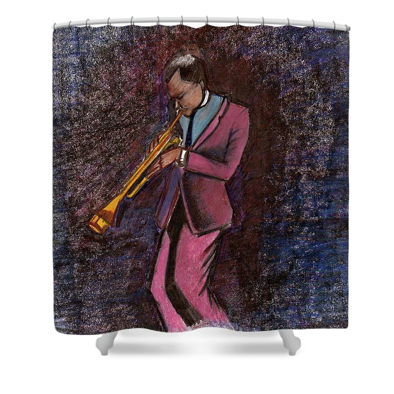 Jazz Shower Curtain featuring the drawing All That Jazz by Dallas Roquemore