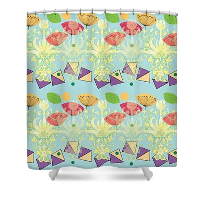 Pattern Shower Curtain featuring the digital art All That Jazz by Lou Gibbs
