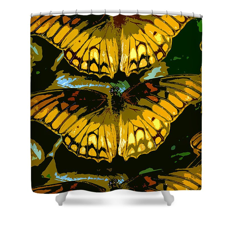 Butterflies Shower Curtain featuring the painting All The Butterflies by David Lee Thompson