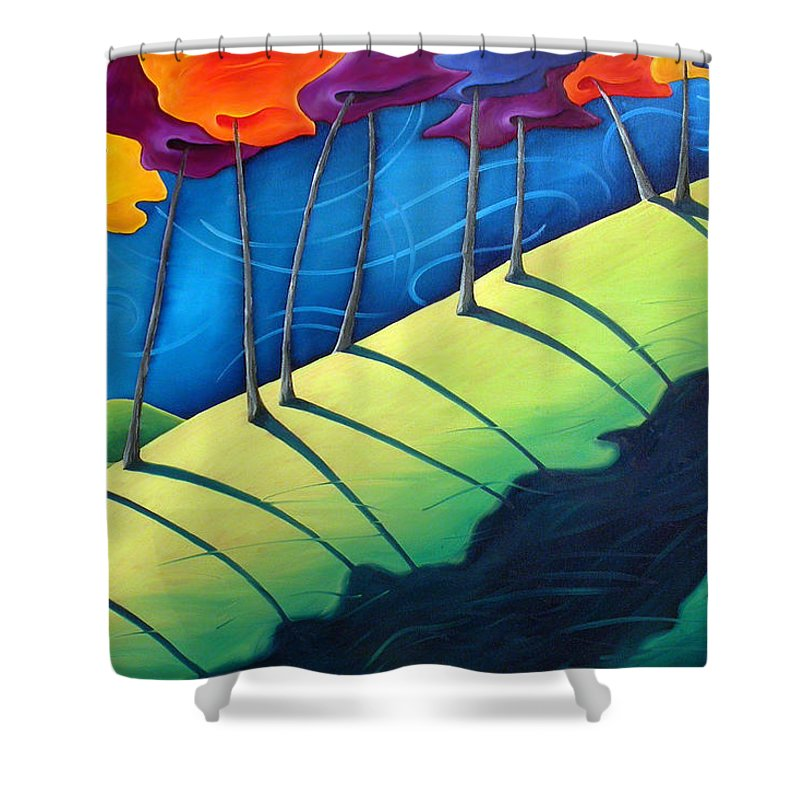 Landscape Shower Curtain featuring the painting All The Same In The End by Richard Hoedl