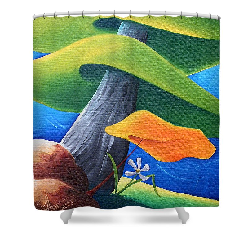 Landscape Shower Curtain featuring the painting All Under One Roof by Richard Hoedl