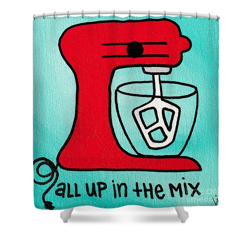 Black Shower Curtain featuring the painting All Up In The Mix by Liz Martinez