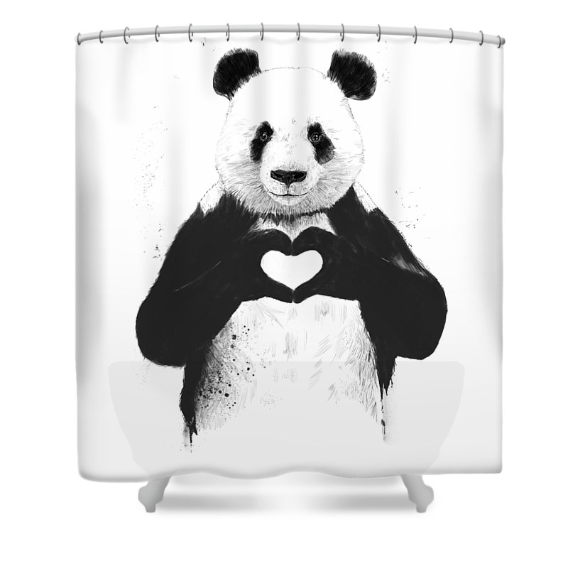 Panda Shower Curtain featuring the mixed media All You Need Is Love by Balazs Solti